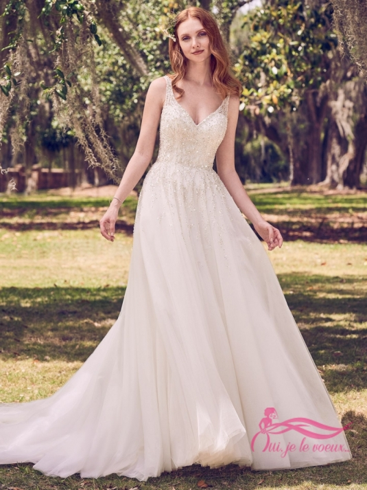 Wedding dress Tulle, Beaded appliquées, Jace